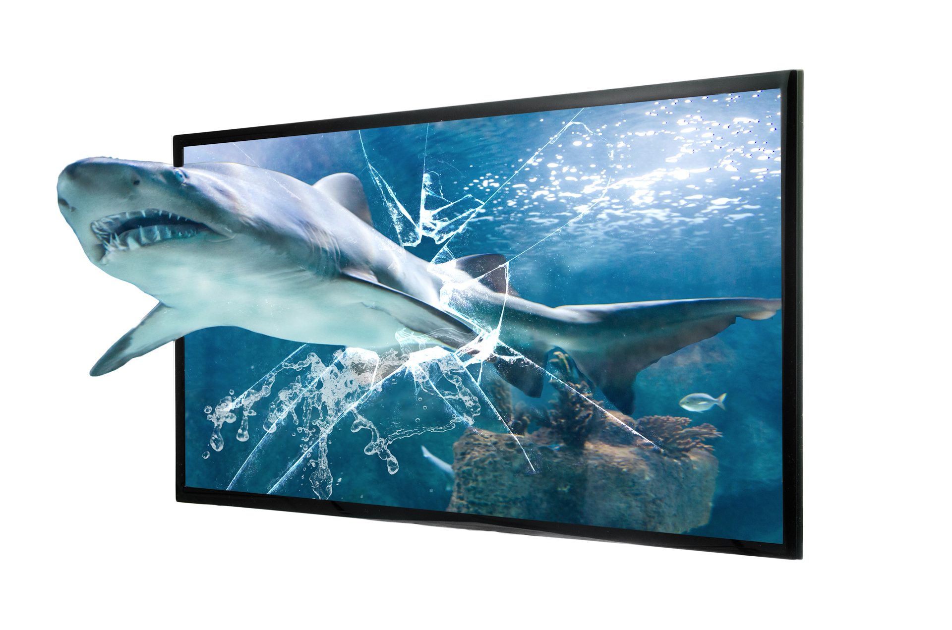 3D Shark jumping through television screen