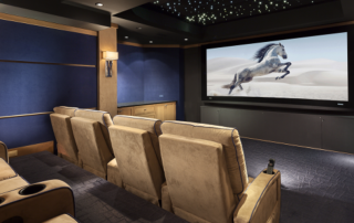 home theater with horse on screen